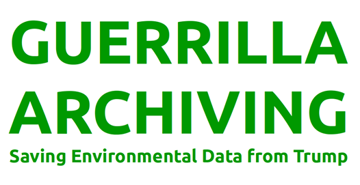 Image Description: A logo for the Guerrilla Archiving archive-a-thon with green font
