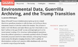 Environmental Data, Guerrilla Archiving, and the Trump Transition