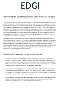 Introducing the Environmental Data and Governance Initiative  — Report