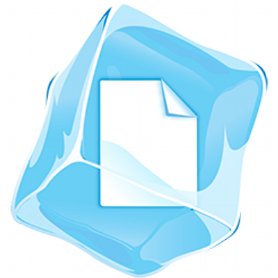 Image Description: A PageFreezer logo with a document icon pictured inside a light blue, tilted ice cube
