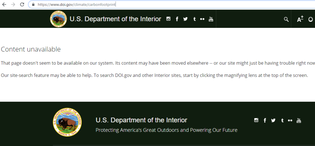 Climate Change Information Gone from DOI Website