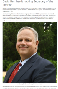 "Worked for ""entities accused of violating DOI regulations"" and other omissions in the (Nominated) Secretary for the Interior, David Bernhardt's, Official Bio."