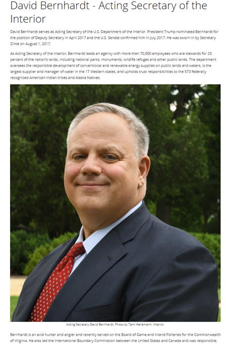 """Worked for """"entities accused of violating DOI regulations"""" and other omissions in the (Nominated) Secretary for the Interior, David Bernhardt's, Official Bio."""