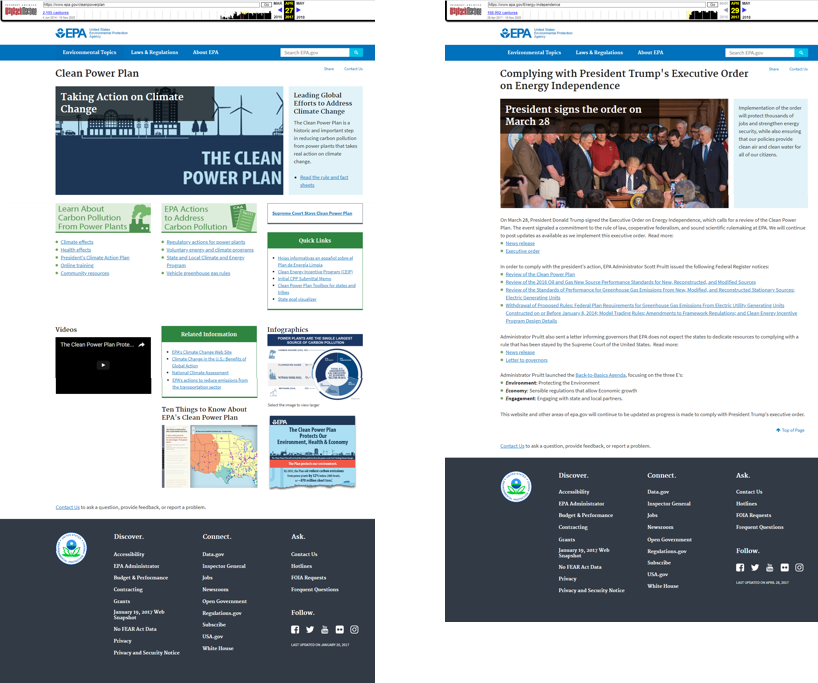 Change of the Week: Story of Clean Power Plan Website Removal Underscores Need for Better Information Policies
