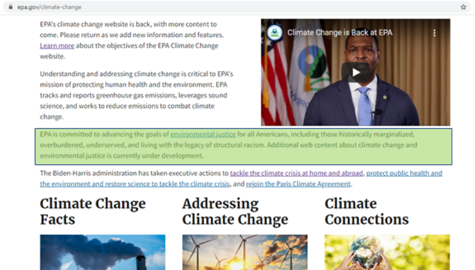 EPA Changes Up Its Climate Change Website